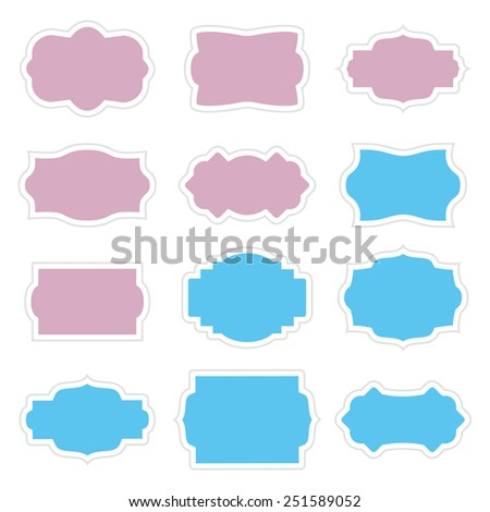 Set Vintage Stickers Border Frame Messages Stock Vector HD (Royalty ...