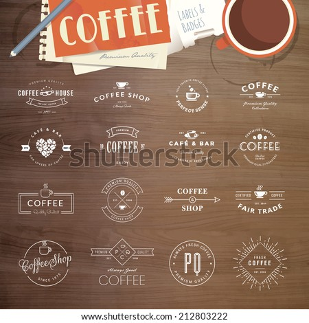 Set of vintage style elements for labels and badges for coffee, with wood texture, cup of coffee and a notepad in the background     - stock vector