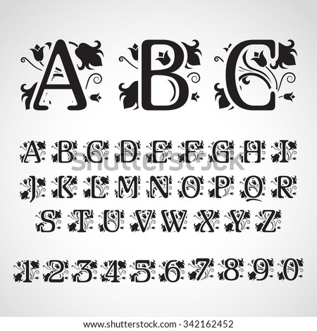 Set of vintage style initial letters. For invitation, flayer, cover, greeting card, monogram - stock vector