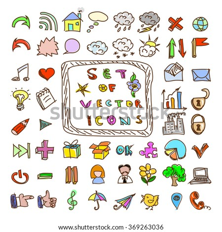 Set of vintage style vector doodles icons