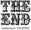 Set of vintage style vector letters, spelling The End. Easy to edit. - stock vector