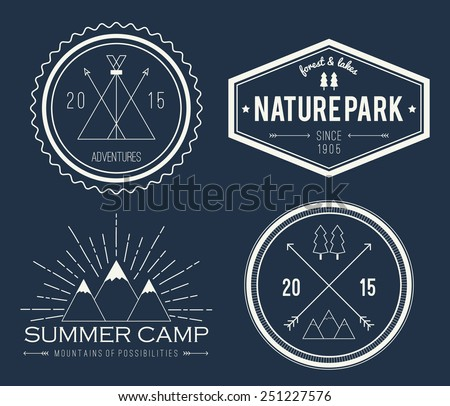 Set of vintage summer camp badges and other outdoor logo's, emblems and labels on blackboard - stock vector