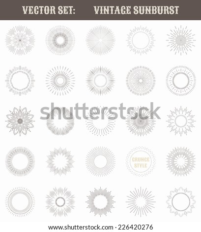 Set of vintage sunburst. Geometric shapes and light ray collection. Hipster style frames. Vector illustration of grunge design. - stock vector