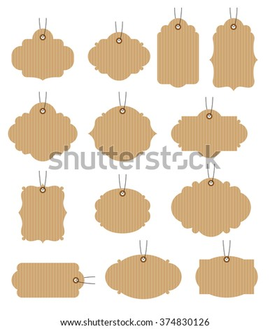 Set of vintage tags vector illustration. Craft paper tags.