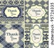 Set of vintage thank you cards with knitted background - stock vector