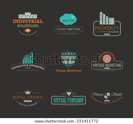 Set of vintage theme abstract business and industry logo design element - stock vector