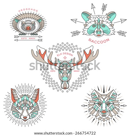 Set of vintage thin line animal labels & badges. Retro vector design graphic element, emblem, logo, insignia, sign, identity, logotype, poster. Stroke line objects with typographic for t-shirt prints. - stock vector
