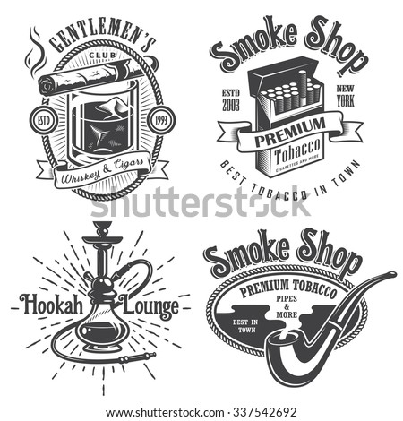 Set of vintage tobacco smoking emblems, labels. badges and logos. Monochrome style. Isolated on white background - stock vector