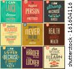 Set Of Vintage Typographic Backgrounds / Motivational Quotes / Retro Colors With Calligraphic Elements - stock