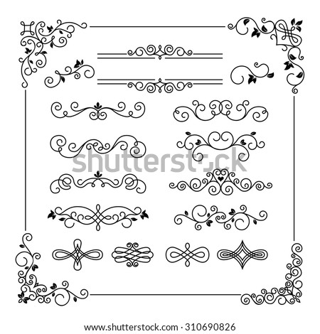 Set of vintage vector frame border divider corner. Calligraphic decorative elements - stock vector