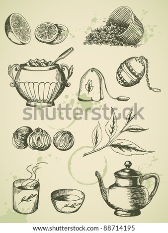 set of vintage vector hand drawn tea icons - stock vector