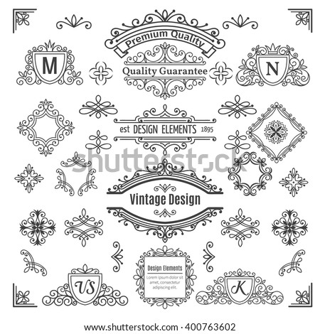 Set of vintage  vector line elements . Calligraphic decorative dividers borders swirls scrolls  monograms and frames. - stock vector