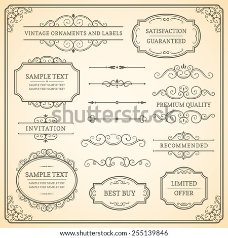 Set of vintage vector ornaments and labels on a beige background. - stock vector