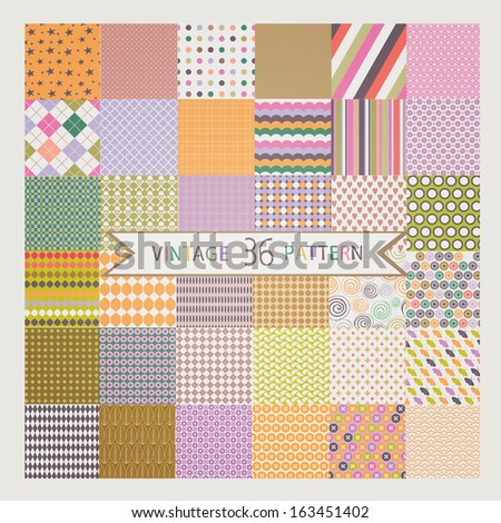 Set of 36 Vintage vector seamless patterns - stock vector