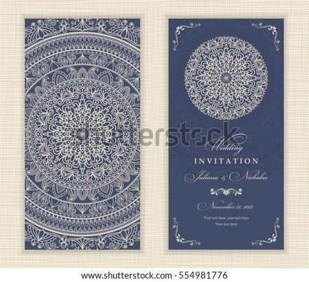 Set of vintage Wedding Invitation card with Mandala pattern. The front and rear side. Beautiful Victorian ornament. Frame with floral elements. Vector illustration.