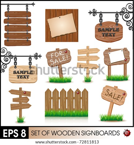 Set of vintage wooden signboards - stock vector