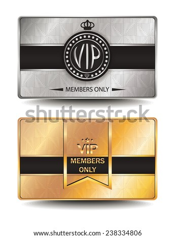 Set of VIP cards with geometric design  - stock vector