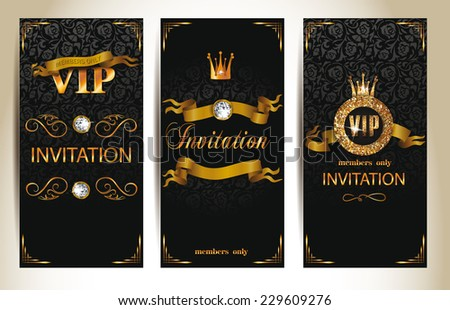 Set of VIP elegant invitation cards - stock vector