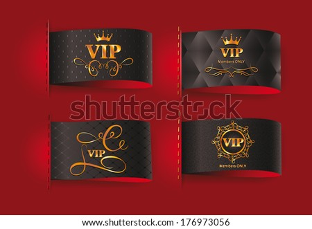 Set of vip gold vector labels - stock vector
