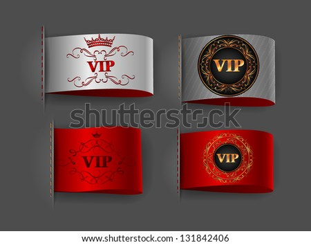 Set of VIP silver and red labels - stock vector