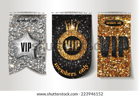 Set of VIP textured labels - stock vector