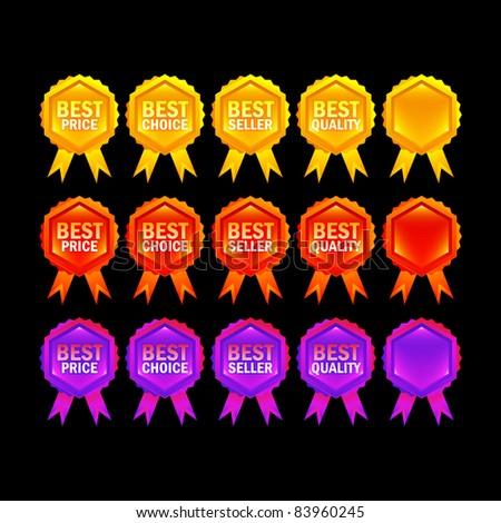 set of vivid award rosette - stock vector