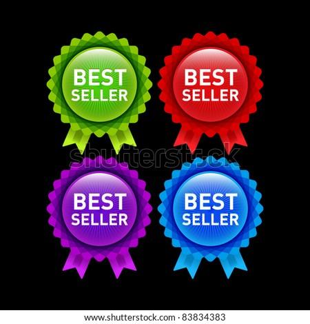 set of vivid best seller ribbon rosettes - stock vector