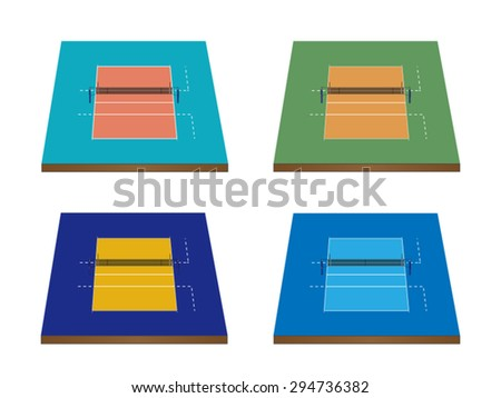 Set of Volleyball Courts in Different Colours 3D with Nets - stock vector