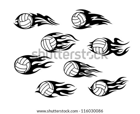 Set of volleyball sports tattoos with tribal flames, such a logo template. Jpeg version also available in gallery - stock vector