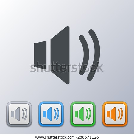 Set of volume icons 3d, gray, orange, green, blue, with a picture of an the sound, volume - stock vector