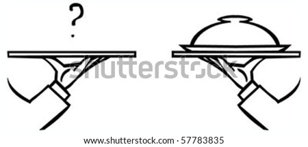 Set of waiter's hands with orders #1 isolated black contour on white background - stock vector