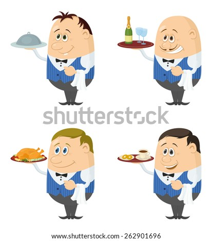 Set of Waiters in Blue Uniform with Different Meals on Their Trays, Coffee, Champagne and Roast Turkey, Funny Cartoon Characters Isolated on White Background. Eps10, contains transparencies. Vector - stock vector