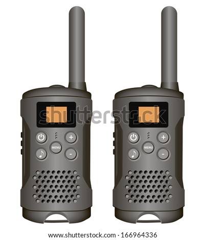 Set of walkie-talkies for industrial use. Vector illustration. - stock vector