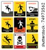 Set of warning signs. Notice and caution. - stock vector