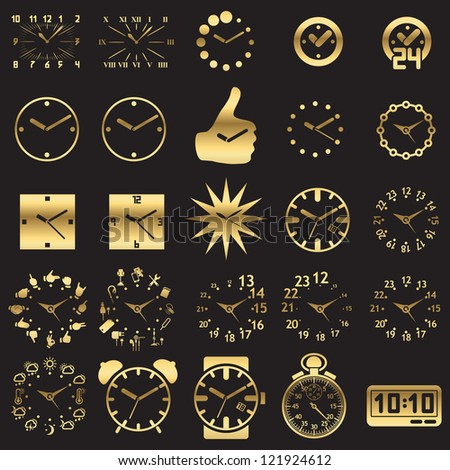 Set of watch icons - silhouette - stock vector
