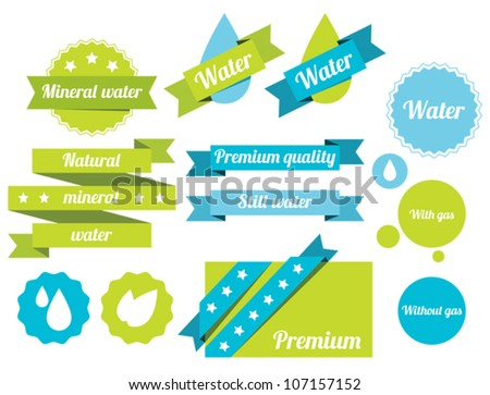 Set of water badges, labels and icons - stock vector