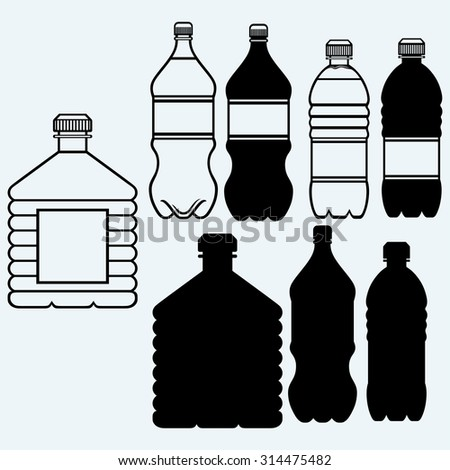 Set of water bottles. Isolated on blue background - stock vector