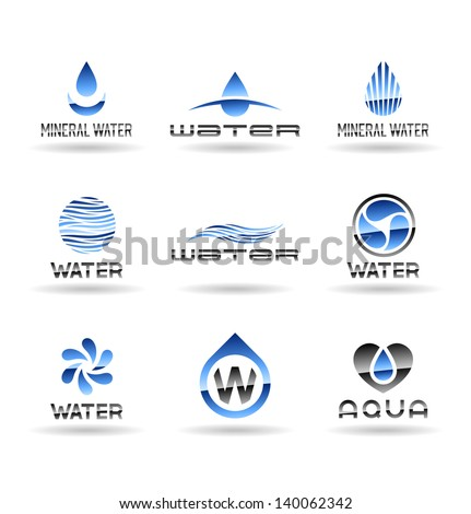 Set of water design elements. Water icon. - stock vector