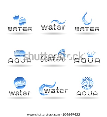 Set of water design elements. Water icon. Set 3. - stock vector