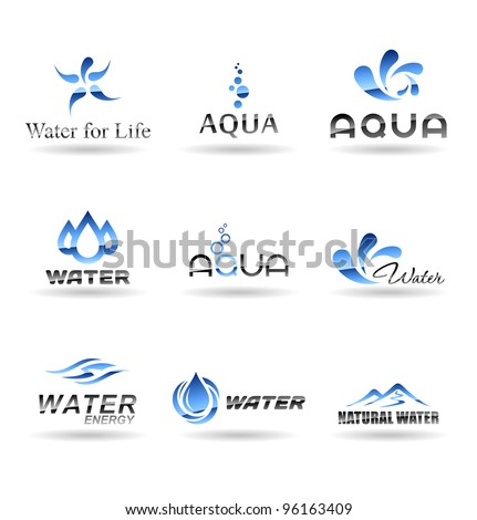 Set of water design elements. Water icon. Set 2. - stock vector