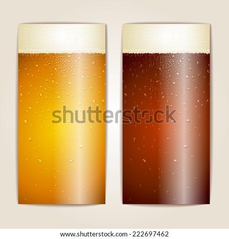 Set of Water drops on beer background - stock vector