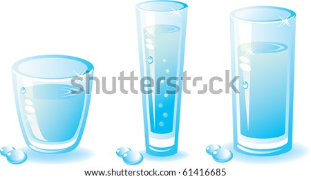Set of water glass . Composition with a shade and drops.Isolated on a white background. Vector illustration (EPS8). All parts (object) closed, possibility to edit. Without transparency - stock vector