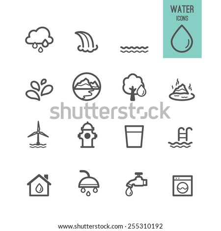 Set of water icon. Vector illustration. - stock vector