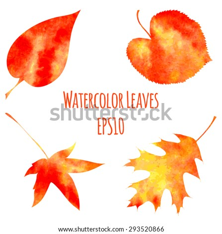 Set of watercolor autumn leaves in red, orange and yellow colors. Vector illustration EPS10. - stock vector