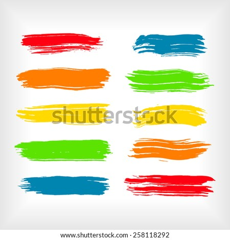 Set of watercolor brush strokes. Watercolor brush strokes collection. Paint brush strokes. EPS10 abstract vector. Isolated on white.