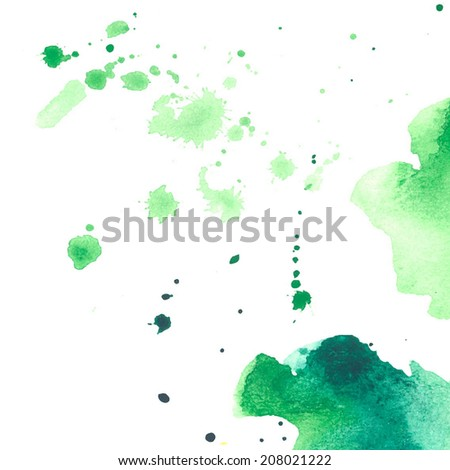 set of watercolor colorful drops and spray on a white background - stock vector