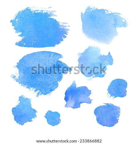 Set of watercolor elements, isolated on white / Vector Illustration - stock vector