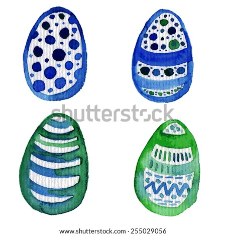 Set of watercolor hand drawn eggs. Colorful eggs - stock vector