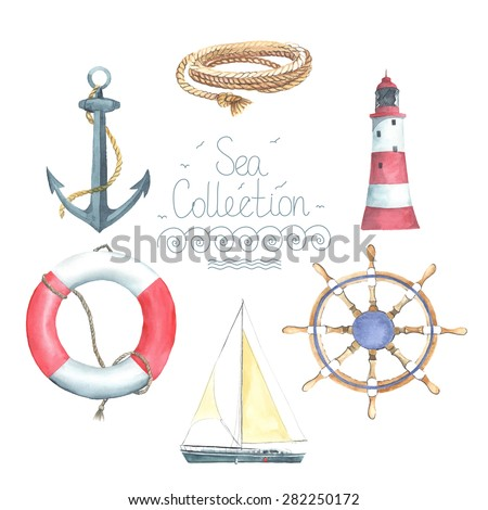 Set of watercolor lighthouse, helm, sailing boat, lifebuoy, anchor, rope. All object made in vector. Each one is separately.  - stock vector