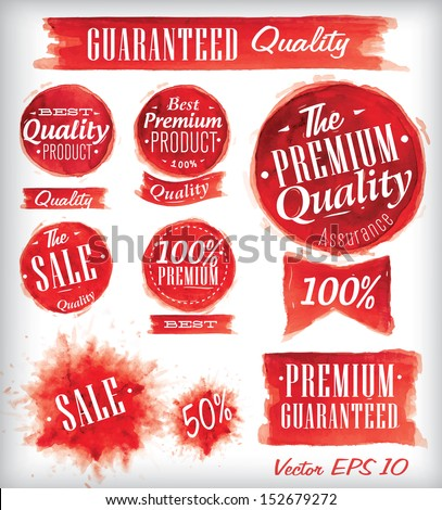 Set of watercolor Old Premium Quality Badges collection stylized watercolor brush strokes of red vector 10 - stock vector